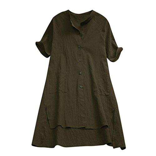 ops Lange Spitzen Frühjahr und Herbst Damen Asymmetrische T-Shirt Bluse Leinen Stoffe(Grün,EU-38/CN-S) (Graue Maus Kostüm Frauen)