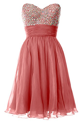 MACloth Women Strapless Chiffon Short Prom Dress Formal Cocktail Party Ball Gown Zartrosa