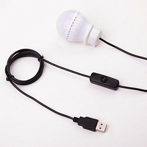USB LED Leuchtmittel [] CoJoie, 4P, Camping Zelt, USB, 5 V, 3 W, warmes Licht, 5-flammig mit Schalter, weiß, 113H0010 Home Ersatzlampen für zu Hause, Camping, Wandern, Angeln Rucksackreisen und andere Outdoor-Aktivitäten