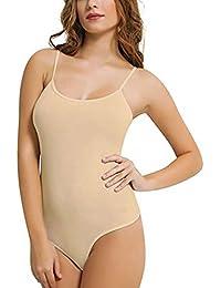 dames femmes riches en coton mélangé minces combinaisons de lanière de courroie(ladies thinstrap thong bodysuits)Ref:2315
