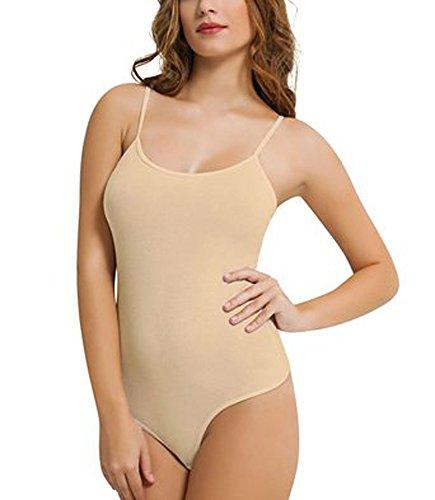 Damen Frauen reichen Baumwollmischung dünnen Riemen Tanga Bodys(Ladies Thin Strap Thong Bodysuits)Ref:2315 Tan(Tan)