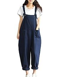 Mujer Chicas Peto Largo Pantalones Harem Casual Elegante Algodón Suelto Bolsillos Fiesta Azul Oscuro M