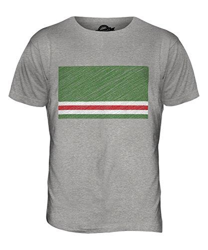 CandyMix Tschetschenische Republik Itschkerien Kritzelte Flagge Herren T Shirt Grau Meliert