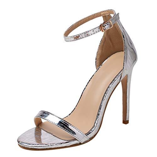 Deloito 2019 Sommer Sexy Damen High Heels Sandaletten Peep-Toe Schuhe Hochzeit Flacher Mund Party Prom Schuhe Abend Stilett Sandalen (Silber,38 EU) (Größe 13 Breite Kleid Schuhe Frauen)