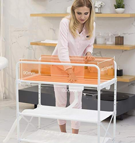 Changing Table Baby Changing Table Folding with Changing Mat Nursery Diaper Care Organizer Baby Changing Station for Baby Bath with Tube Changing Table ●Size and Safe and Stable- 85 x 50 x 132cm,Suitable for babies weighing less than 25kg,With seat belt,Changing pad has a restraining strap for added safety and is made of easy to clean, soft ●2-in-1 design- Baby changing table can be used as baby massaging table as well. It is designed at the proper height of parent to prevent mom's back aches and pains from kneeling or bending when changing diapers to babies. ●Premium materials - Using high-quality materials for our 2 in 1 infant changing table,Reinforced wood,it is durable and stable for long time daily use,And easy to clean and maintain. 8