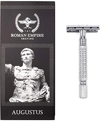 Roman Empire Shaving® Rasierhobel Augustus - Eleganter Safety Razor für Damen & Herren - Nassrasierer Set inkl. 20 Rasierklingen von Astra, Derby, Shark, Voskhod - Rasier Set
