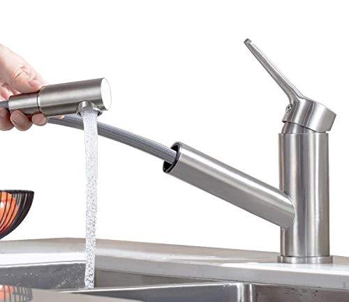 ONECE Wasserhahn Küchenarmatur mit ausziehbarer Brause Armatur Spültisch Küchen Einhebel Mischbatterie,aus Messing,matt Spültischarmatur -
