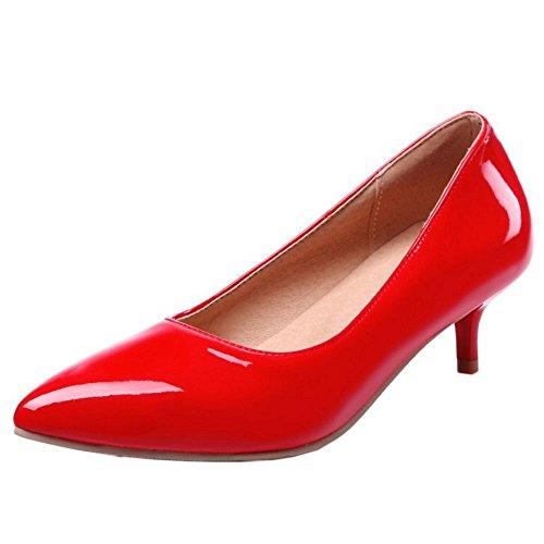TAOFFEN Femmes Chaussures Western Kitten Heel A Enfiler Pointu Escarpins Soiree Rouge
