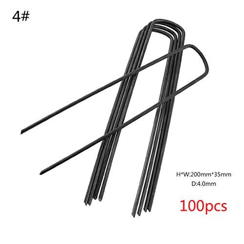 Kräuter-nagel (Yanhonin 100 Stück Befestigungsheringe aus Stahl, Gartenpfähle Rasen Klammern in U-Form für falsche Nägel Kräuter)