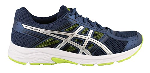 Asics Gel-Contend 4 Synthétique Chaussure de Course Dark Blue/Silver/Safety Yellow