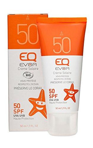 EQ Crème Solaire BIO visage et corps - pour toute la famille -  très haute protection - SPF 50 / 50ml