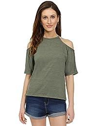 Women High neck Cold Shoulder Green Top