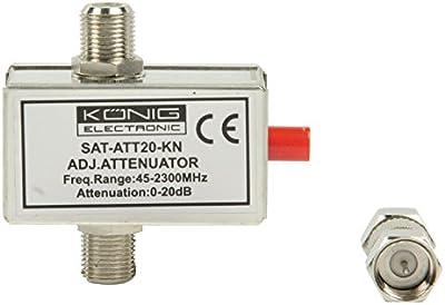 König SAT-ATT20-KN - Atenuador variable de 20 dB, plata