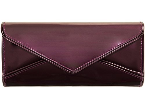 Vente de Pâques en similicuir Motif enveloppes pour Femmes Couleur Rose Pochette 09179 Noir - Shimmer Purple