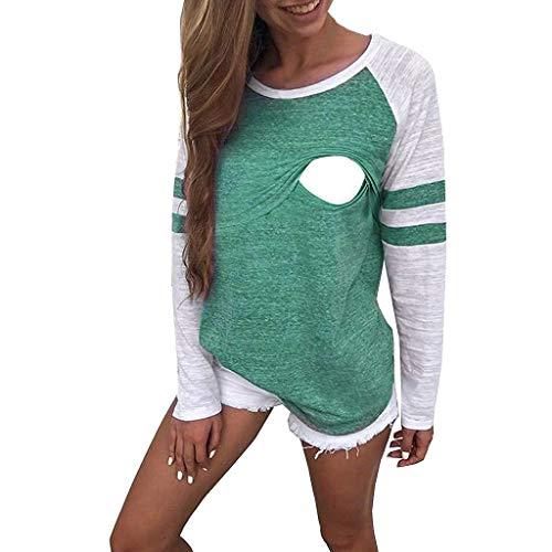 TIZUPI Herbst Damen Shirt Mutterschaft Stillen Langarm Baumwolle T-Shirts Schwangerschaft Umstandsmode Top Stillen Overlay Patchwork Langarmshirt Damen Bluse(Grün,XXL