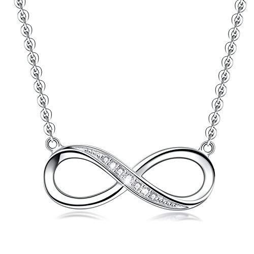 Collar infinito con colgante para mujer, plata de ley 925 chapada en oro, collar de amor y corazón