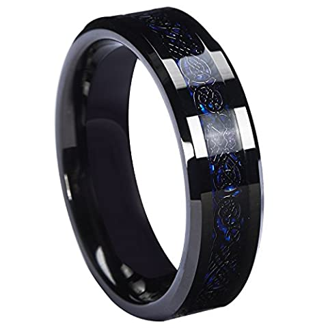 Queenwish 6mm Black Celtic Dragon Tungsten Carbide Ring Blue Carbon Fibre Weddig Bands Jewellery