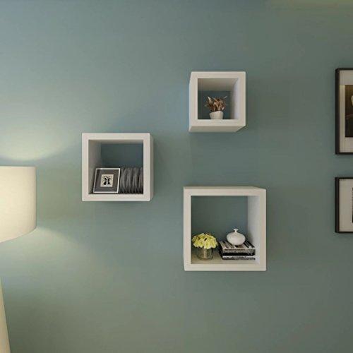 Lingjiushopping Etageres Design Murale 3 Cubes blanc et MDF Couleurs : Blanc Materiel : MDF