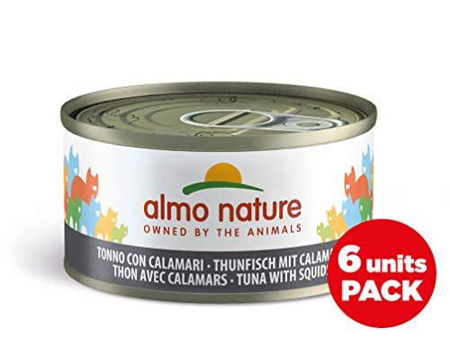 Almo Nature Megapack Tonno con Calamari- Cibo umido naturale per gatti adulti (6 x 70gr-lattina)