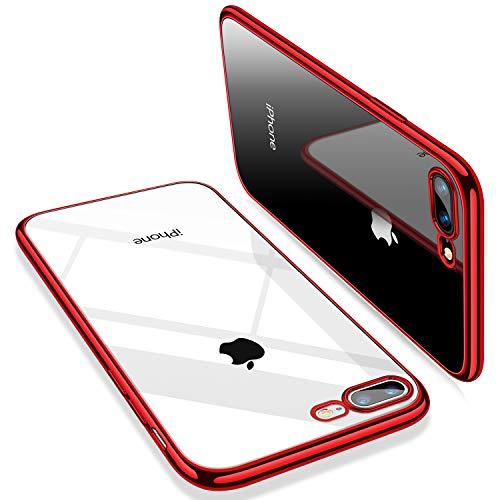 TORRAS iPhone 8 Plus Hülle, iPhone 7 Plus Hülle, Silikon Durchsichtig Dünne Schutzhülle Transparent Handyhülle [ Kratzfest ] Klar Soft Slim Case TPU HandyHulle für iPhone 7 P/iPhone 8P - Rot
