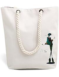 MICOM Micom Korean Simple Casual Large Canvas Tote Bags Shoulder Handbags With Rope Handles (Vogue Girl)