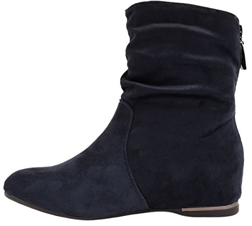 Elara Damen Schlupfstiefel | Bequeme Klassiche Stiefeletten | Flache Boots Dk Blau Sydney