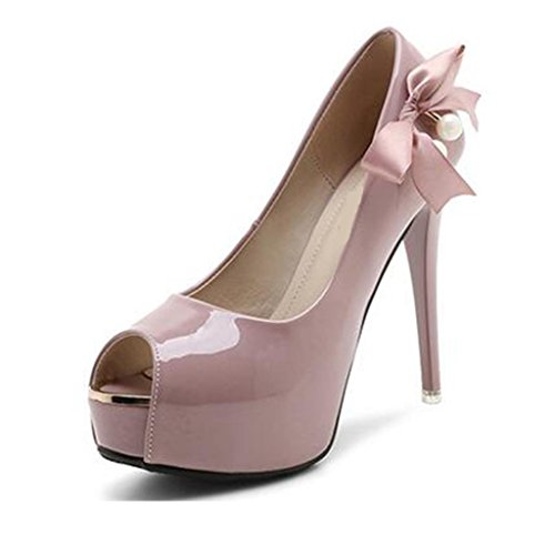 W&LM Signorina Tacchi alti sandali Ok Piattaforma impermeabile Ultra Tacchi alti Cravatta Scarpe di bocca di pesce sandali Pink