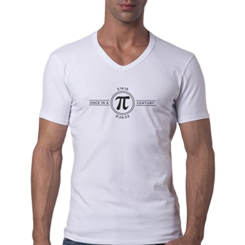 Number Math Symbol Calculus Equations Pi Logo Herren V-Neck T-Shirt Weiß