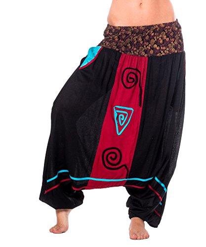 Pumphose Haremshose yoga pumphose aladinhose plunderhose Baggy Ballon Yoga Hose Jumpsuit schwarz/bordo 140944