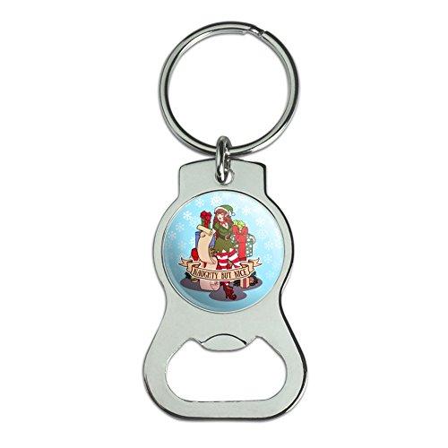 Graph & More Schlüsselanhänger mit Weihnachts-Elfe Pin Up Naughty But Nice Flaschenöffner