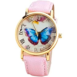 Watch, Tonwalk Womens Butterfly Analog Quartz Wrist Watch Pink