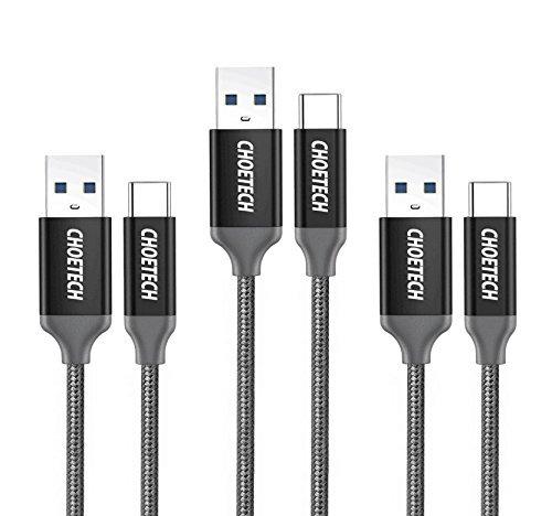 Cable Tipo C USB 3.0 (3 Pack) CHOETECH USB Tipo C a USB A 3.0 Cable Trenzado de Nylon para Samsung S8/S8 Plus,Xiaomi,Nintendo Switch,Nexus 5X/6P,HTC 10,LG G5/G6,Huawei P9/P10,Plata[2*1M+1*2M