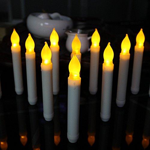 Weihnachts-candlelight-lampen (12pcs Flammenlose Taper Kerzen LED, kerzen licht Batteriebetriebene für Home Decor Geburtstag, Kirchen, Halloween Parteien und Weihnachten (Batterien nict inbegriffen))