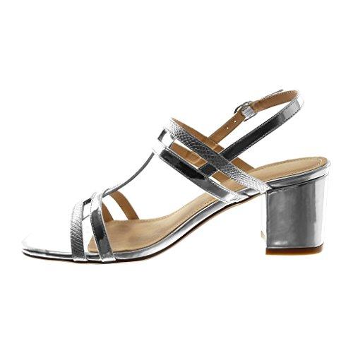 Chaussures Angkorly Sandales Mode Décolleté Avec Talon Avec Bride À La Cheville Femme Multi-bride Snakeskin Glossy High Block Talon 7 Cm Argent