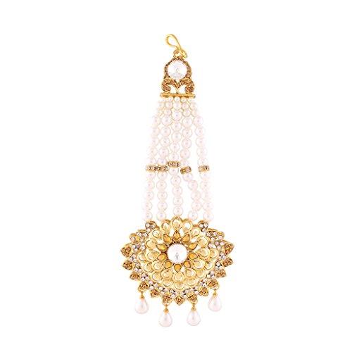 I Jewels Gold Plated Bajirao Mastani Inspired Pearl & Stone Passa Tikka for Women T1068LW (Gold)