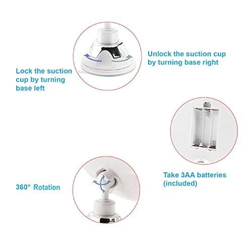 Auxent Kosmetikspiegel LED Beleuchtet mit 10x Vergrößerung und Starkem Saugnapf, 360° Schwenkbar, Make-Up-Spiegel Schminkspiegel mit Blendfreier Beleuchtung für Zuhause und Unterwegs - 6