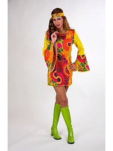 Kostüm für Erwachsene Hippie-Kleid mit Stirnband Gr.46/48