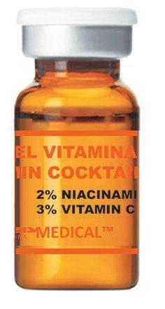 Vitamin Cocktail - steriles Serum mit Vitamin C für Microneedling (Derma Pen) und Mesotherapie (Dermaroller) Behandlungen - Professionelles Microneedling Serum. Ampulle mit 5 ml
