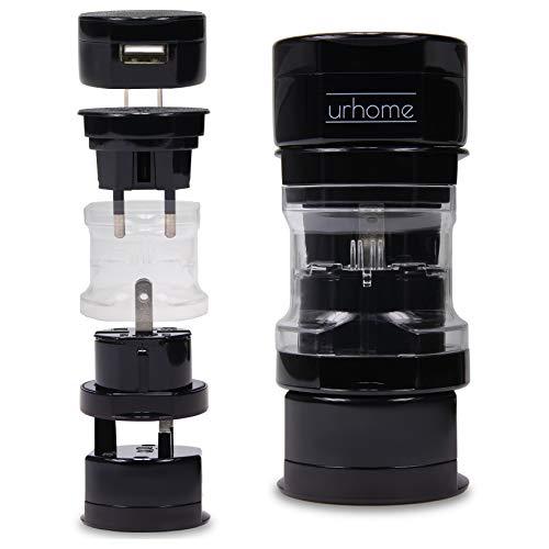 Urhome® Universal Reiseadapter I 150 Länder Travel-Adapter I mit 1A USB Charger Schwarz - Zu 240v 110v Spannungswandler