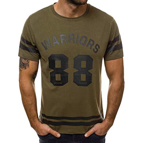 Gabbana Mode T-shirt (REALIKE Herren Kurzarmshirt Tops Casual Basic O-Ausschnitt Buchstabenmuster T-Shirt Mode Loose Fit Oberteil Summer Sport Bequem Atmungsaktiv Leicht Viele Farben Blusen)