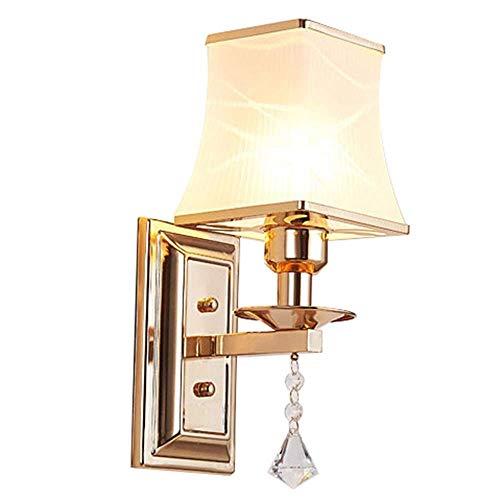 BAIF Glas kristall Wandleuchte nachtwandleuchte licht, Wohnzimmer Wandleuchte licht, Wandleuchten, Metall Satin Nickel, weiß stoffschirm, für Haus und Hotel. - Satin-kristall-glas
