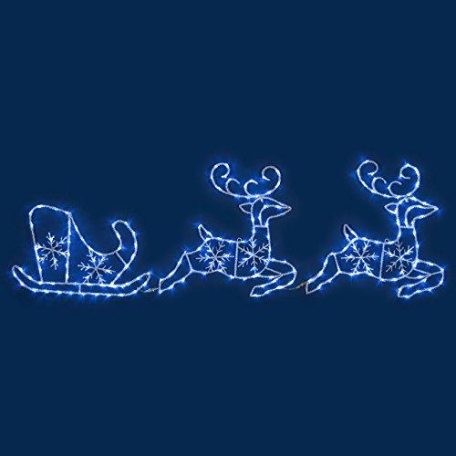 Xmasking figura luminosa, 2 renne con slitta effetto ghiacciato 240 x h 70 cm, led bianco freddo, soggetti luminosi, figure di natale, decorazioni natalizie
