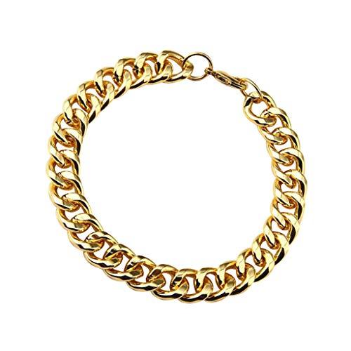 P Prettyia Klassiker Herren Panzerkette Armband aus Edelstahl Farbe Silber Poliert - Gold (Link-armband Cuban Frauen Für)