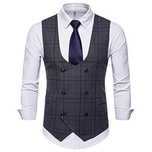 Kootk Suit Chaleco para Hombre Chaleco Formal Veste Ropa de diseñador Vintage Sin Mangas Chaqueta de Traje Chaqueta Gris Oscuro 2XL
