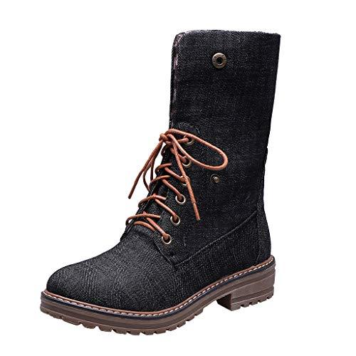 YU'TING◕ღ◕Mid Stivali Invernali Donna Stivaletti Stivali Invernali Scarpe da Donna Lacci Tacco Grosso Anfibi in Denim Pieghevole Stivale Corto
