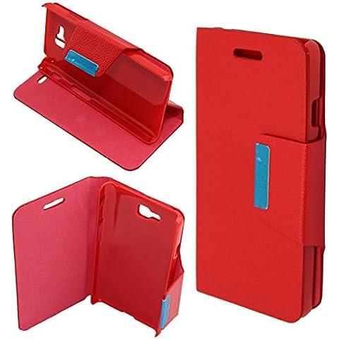 Misemiya ® - Funda LG Optimus L9 II (D605) Cuero Agenda Soporte - Rojo