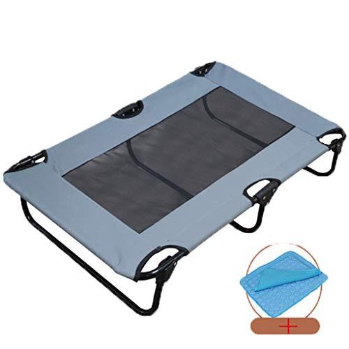 Danm Erhöhte Hundebett mit Ice Silk Pad und Teslin Mesh Atmungsaktiv, wasserdicht und feuchtigkeitsbeständig, faltbar Große und mittlere Hunde Outdoor Campingbett , grau