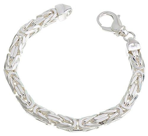 Massives Königskette Armband 8mm Breite - 925 Silber, Länge 23cm