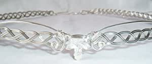 Silver plated woven leaves celtic circlet