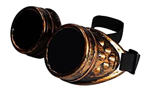 ASVP Shop® Unisex Cyber Goggles with Non-Polarised Glass Lens - Ideal for Welding or Outfit Accessory (Steampunk/Goth/Cosplay/Vintage/Rustic/Rave/Party/Fancy Dress Costume)